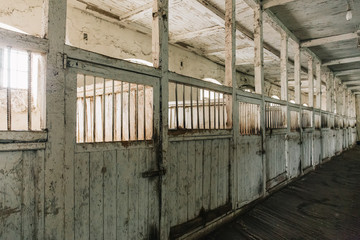 Horse Barn or Stable on Farm or Ranch, old wooden Horse Boxes