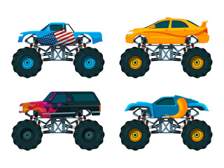 Set big monster truck cars. Vector pictures set