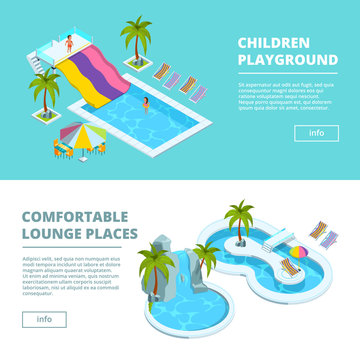 Horizontal banners with isometric pictures of water park and kids playgrounds