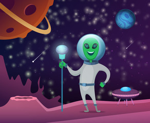 Space background with character of funny alien