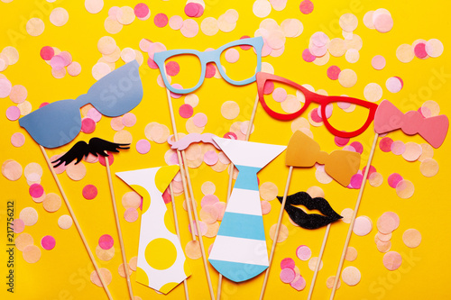 photo booth props glasses mustache lips on a pink background flat