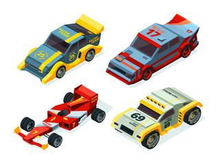 Race car set. 3D racing cars. Isometric sport pictures