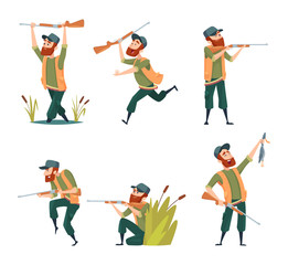 Characters of hunters. Vector cartoon illustrations of various hunter mascots