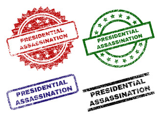 PRESIDENTIAL ASSASSINATION seal prints with damaged texture. Black, green,red,blue vector rubber prints of PRESIDENTIAL ASSASSINATION title with dust surface. Rubber seals with round, rectangle,