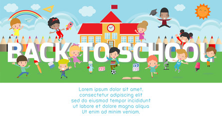 back to school, kids school, education concept, Kids go to school, Template for advertising brochure, your text, kids and frame,child and frame,cartoon happy children,Vector Illustration