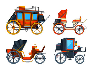 Carriage flat style. Illustrations set of various chariot