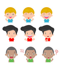 cute boy faces showing different emotions,Set of children expressions on white background, Expression set of kids,vector Illustration