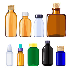Bottles for drugs and pills. Medical bottles for liquid drugs