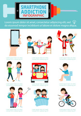 Smartphone Addiction Infographics vector illustration flat icons cartoon character design.
