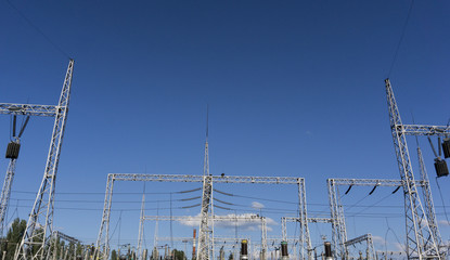 Electrical network on blue sky background