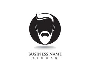 masculine beard black hair geek logo and symbol