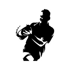 Rugby player with ball in hands, running athlete. Team sport silhouette. Isolated vector illustration