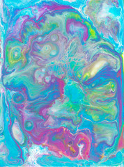 Fluid art light abstraction. Colorful bright artwok. Multicolored paint stains. Stone texture