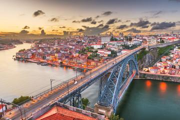Porto, Portugal Town Skyline Over the Douro River and Dom Louis I Bridge.