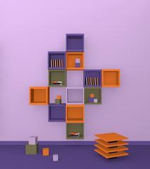 Modernes Wohnen: Regal aus Würfeln in trendigen Farben aus Vorderansicht. 3d render
