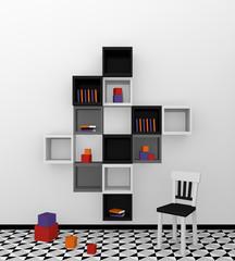 Modernes Wohnen: Regal aus Würfeln in schwarz, weiß und grau auf abstrakt gemusterten Boden.Vorderansicht, 3d render