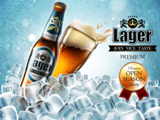 Design of advertising beer with  bottle and glass in ice cubes. High detailed delicous illustration.