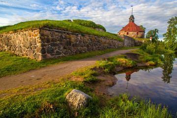 The city of Priozersk. Korela fortress museum. The wall of Korela fortress. Russia. Museums of Karelia. Karelia. The fortress in Karelia. Panorama of Priozersk. Cities of Russia.
