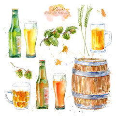 Set of a glass of a beer, bottle,barley,malt and hops. Picture of a alcoholic drink. Watercolor hand drawn illustration.White background.