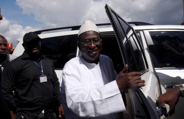 Soumaila Cisse, leader of opposition party URD arrives at HQ in Bamako