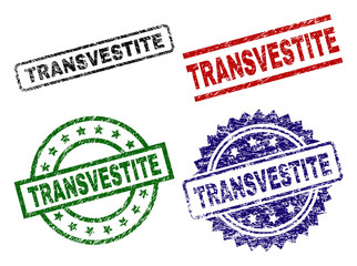 TRANSVESTITE seal prints with distress style. Black, green,red,blue vector rubber prints of TRANSVESTITE text with unclean style. Rubber seals with round, rectangle, medal shapes.