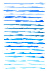 Set of vector blue watercolor lines