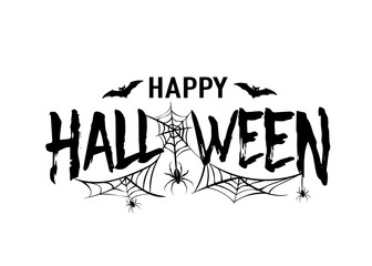 Happy Halloween vector text banner. Silhouette holiday sign background isolated on white