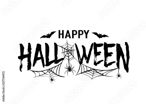 Halloween Vector Black And White.Happy Halloween Vector Text Banner Silhouette Holiday Sign