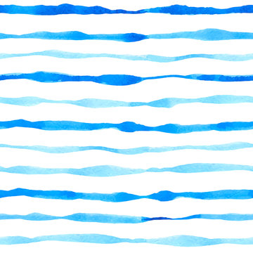 Pattern with watercolor blue lines