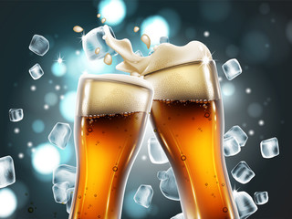 Beer glasses with bubbles and a foamy splash. Very realistic illustration with the effect of transparency.