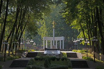 "the city of Dmitrov, Russia, - on August 11 2018/the park in the city of Dmitrov, a statue ""An angel of the world"""