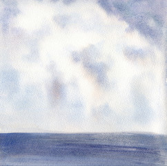 Light Blue Clouds and Dark Sea