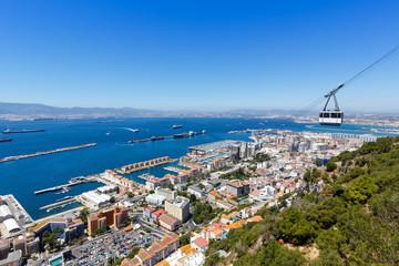 Gibraltar Seilbahn Cable Car Hafen Port Meer Mittelmeer Urlaub Stadt