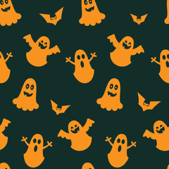 seamless vector pattern for a holiday of halloween with pumpkins and characters