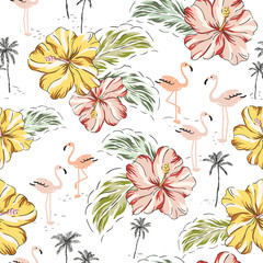 Tropical pink flamingo birds, hibiscus flowers, palm trees, leaves background. Vector seamless pattern. Jungle illustration. Exotic plants. Summer beach floral design. Paradise nature graphic