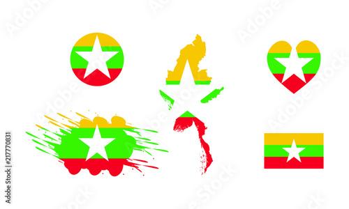 Myanmar (Burma) Flag & Map Icons Vector set