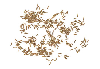 Cumin seeds or caraway isolated on white background. Top view.