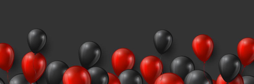 Black Friday sale banner with glossy red and black balloons on dark background. Vector illustration.
