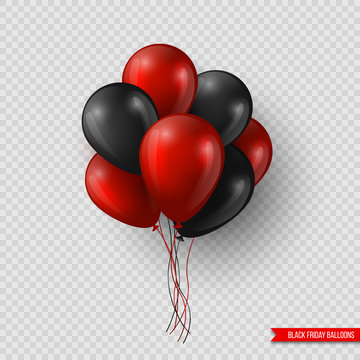 Black Friday sale glossy balloons. Realistic design elements isolated on transparent background. Vector illustration.