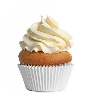 Delicious birthday cupcake on white background