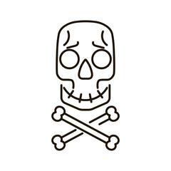 Skull and crossbones vector illustration. Cartoon face