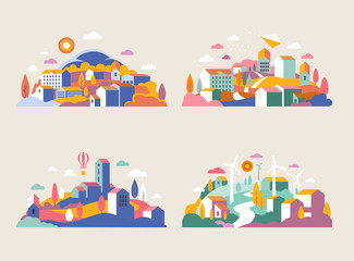 City landscape with buildings, hills and trees. Vector illustration in minimal geometric flat style. Abstract background of landscape in half-round composition for banners, covers. City with windmills