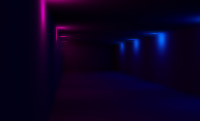 Empty dark room with neon lights, blurred black background with colored lights