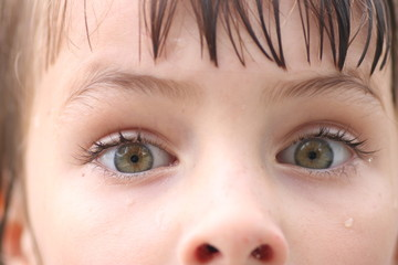 Closeup of child's green eyes with scared expressions