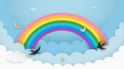 Layered cloudscape background with rainbow, flying birds and butterflies. Fluffy clouds in the sky. Kids room, baby nursery wallpaper. Minimal paper art design. Vector Illustration.