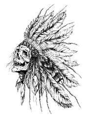 Native American art,national hat,skull,tattoo on a white background