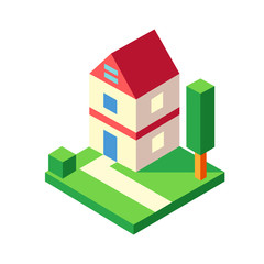 House garden Isometric illustration