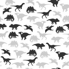 Dinosaur silhouette monochrome seamless pattern. Vector hand drawn illustration.