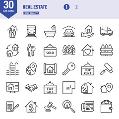 Real Estate Line Vector Icon - Set 1