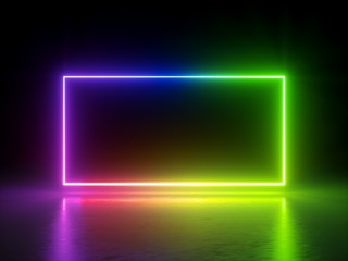 3d render, vibrant rainbow colors, laser show, glowing spectrum rectangle, blank frame, neon lights, abstract psychedelic background, ultraviolet, led screen